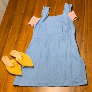 Zara denim pinafore ruffle tencel